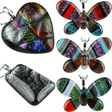 Dichroic Lampwork Glass Murano Heart Love Shape Butterfly Pendant Fit Necklace