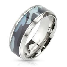 Coolbodyart AF stainless steel ring silver 8mm wide with Blue camouflage Inlay