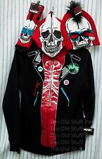 NWT TONY HAWK Costume Hoodie Mask Glow Dark Skeleton Socks Beanie Hat XL Red