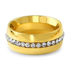 14K Gold IP CZ Mens Eternity Ring Wedding Band