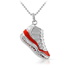 Silver and Red Jordan Breds 3D Sneaker Pendant With Chain