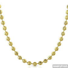 5mm 14k Gold Wrapped 925 Silver Moon Cut Bead Chain Necklace