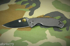 Spyderco C122GBBKP/S Tenacious Folding Knife Black G-10 Handle, Black Blade