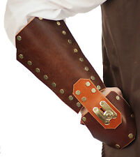 Steam-Punk-Cos-Play-LARP-SCA- BROWN LEATHER & BRASS ARM GUARD One Size