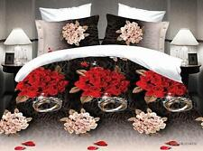 Duvet Cover Pillowcase Quilt Cover Bed Set Queen Size Love Ring Red Roses zays O