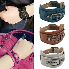 Punk Hottest Men's Women's Wide Faux Leather Belt Bracelet Cuff Wristband Bangle