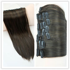 7PC 20'' 120g Straight CLIP ON IN Synthetic Human Hair Extensions Black Brown