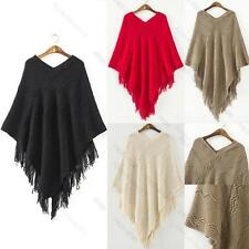 Women Batwing Cape Poncho Knit #K Top Cardigan Pull Over Sweater Coat Outwear