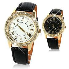 Lady Faux Leather Analog&Digital Alarm Gold Plate Quartz Crystal Wrist Watch B98
