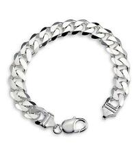 925 STERLING SILVER 13mm Wide MENS BRACELET CUBAN CURB Made in Italy Nickel Free
