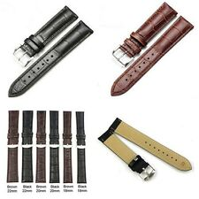 Fashion PU Leather Watch Strap Band Womens Mens Buckle 18/20/22/24mm Brown