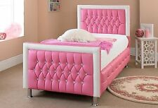 Contemporary Pink Faux Leather Bed Frame Princess Single Double 3FT 4FT6 5FT