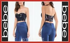 bebe SEQUIN WRAP BUSTIER TOP SHIRT WOMEN SEXY CROP (NEW)
