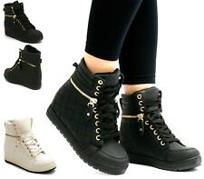 NEW LADIES LACE UP GOLD ZIP HI-TOP HIDDEN WEDGE TRAINERS ANKLE BOOTS SIZE