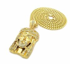 "Iced Out Jesus Face Pendant w/4mm36"" Franco, 6mm36"" Cuban Chain Necklace N0004M"