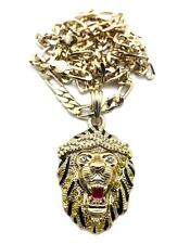"NEW ICED OUT HIP HOP 3D LION FACE MEDALLION PENDANT 5mm 24"" FIGARO CHAIN JSP032M"
