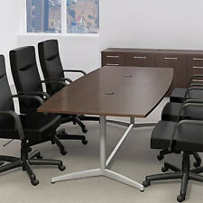 6ft - 10ft BOAT SHAPED MODERN CONFERENCE TABLE with Metal Base Meeting Boardroom