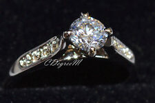 18K White Gold GP Silver Swarovski Crystal Ring Engagement Wedding Stackable
