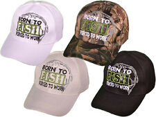 Born to Fish Forced To Work Fishing Baseball Cap Hat White Camo Grey Black NEW