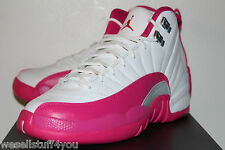 Air Jordan Retro 12 XII Vivid Pink White Sneakers Girl's GS Size 6.5 7 8 New