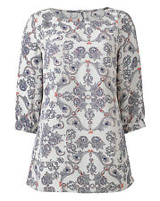 Anthology Top size 20 Printed Blouse Ivory White Red Navy Blue New rrp £22
