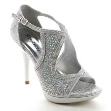 STYLUXE BB24 Women's Stiletto Rhinestone Criss Cross Strap Glitter Dress Sandals