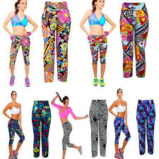 New Womens Printed Stretch High Waist Fitness Yoga Sports Pants Cropped Leggings