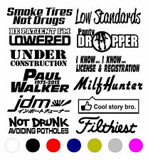 12 JDM STICKER DECAL LOT/PACK TUNER FUNNY BOOST LOW RACING EURO DRIFT TURBO
