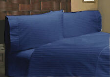 AU Size All Bedding Collection 1000TC Egyptian Cotton Navy Blue Strp Select Item