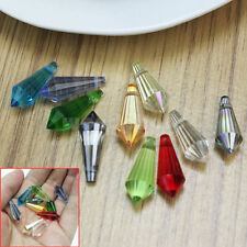 10Pcs Faceted Crystal Point Teardrop Charms Pendant 20mm Jewelry Making Findings