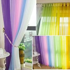 15Color Door Window Rainbow Curtain Drape Panel Scarf Assorted Scarf Sheer Voile