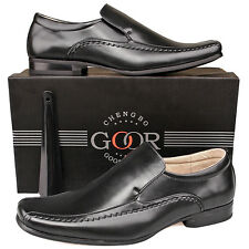 Mens New Gents Black Leather Lined Formal Slip on Smart  Dress Suit Shoes