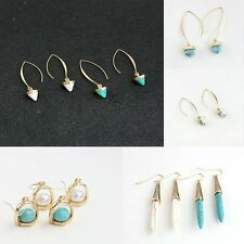 Fashion Blue Turquoise Inside Hook Dangle Gold Earrings Womens Exquisite Gifts