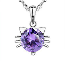 Fashion 925 Sterling Silver Swarovski Crystal Cute Cat Pendant Necklace Chain