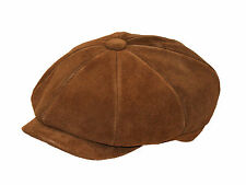 Mens Real Suede Leather 8 Panel Newsboy Baker Boy Gatsby Flat Cap Black or Brown