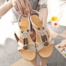 Women Summer Beaded Flat Sandals Shoes Open Toe Beach Flip Flops Slipper Sandals