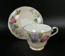 Aynsley 1930s Footed Tea Cup and Saucer Pink Blue Floral Gold Trim
