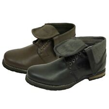 MENS BLACK OR BROWN LACE-UP FOLD-DOWN MILITARY ANKLE ARMY BOOTS SHOES SIZES 7-11