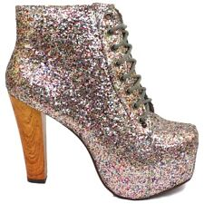 WOMENS GLITTER LACE-UP PLATFORM WOOD EFFECT BLOCK-HEEL ANKLE BOOTS SIZE 3-8