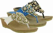 LADIES TOE POST SLIP ON WOMEN WEDGE HEEL SANDALS UK SIZES 3-8