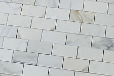 "2"" x 4"" Calacatta Gold Polished Marble Subway Mosaic Tiles - kitchen backsplash"