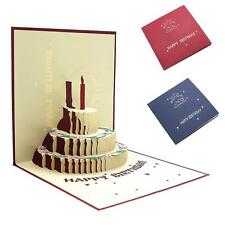 3D Pop Up Greeting Card Birthday Cake Candle Happy Birthday Congratulations Card