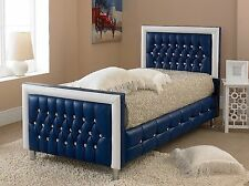 Faux Leather Bed Frame 3FT Double King Size Modern Luxury Bedstead Blue/White