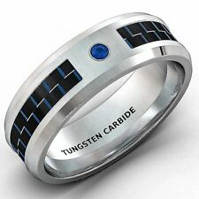 Mens Wedding Band 8mm White Tungsten Ring Blue Carbon Fiber CZ Comfort Fit