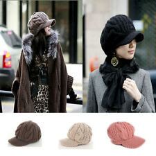 Womens Hats Cap Peak Visor Winter Woolly Cable Knitted Caps Crochet Slouch Baggy