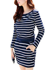 Women Round Neck Horizontal Stripes Long Sleeves Casual Tunic Dress