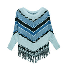 Women Round Neck Batwing Sleeves Zig-Zag Pattern Sweater Poncho