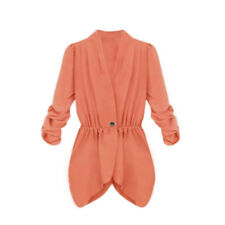 Woman Long Sleeves One Button Closed Elastic Waist Crossover Hem Jacket