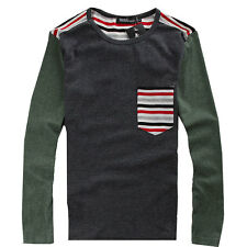 Mens Stripe Pocket Round Neck Stylish Casual Tee T-shirt