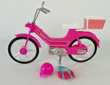 Barbie 1983 Mattel Moped Scooter Bike Pink Helmet and Bag